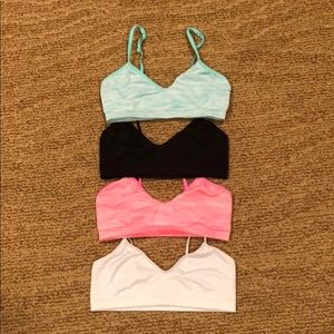 Set of four Justice sports bras